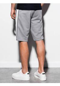 Ombre Clothing - Krótkie spodenki męskie dresowe W241 - szary - XXL. Kolor: szary. Materiał: dresówka. Długość: krótkie