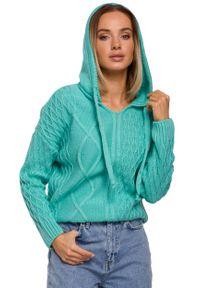 MOE - Nierozpinany Sweter z Kapturem - Seledynowy. Typ kołnierza: kaptur. Kolor: zielony. Materiał: akryl, poliamid