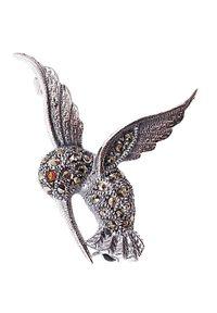 Braccatta - TAZZI Srebrna broszka markazyty mała koliber. Materiał: srebrne. Kolor: srebrny. Kamień szlachetny: markazyt