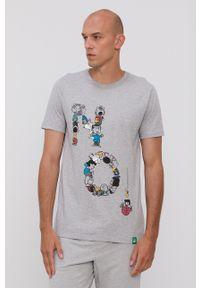 United Colors of Benetton - T-shirt piżamowy x Peanuts. Kolor: szary. Materiał: dzianina. Wzór: melanż, nadruk