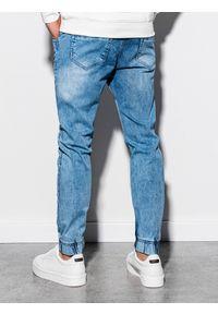Ombre Clothing - Spodnie męskie jeansowe joggery P907 - jasnoniebieskie - XXL. Kolor: niebieski. Materiał: jeans. Wzór: aplikacja