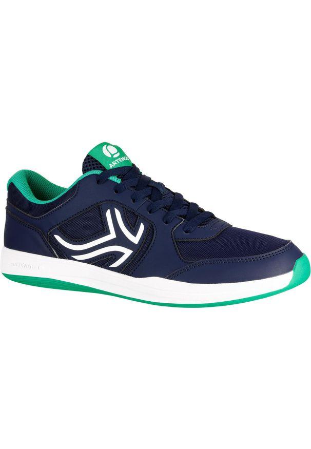 ARTENGO - Buty tenis TS130 męskie na twardą nawierzchnię. Kolor: zielony, wielokolorowy, niebieski. Materiał: syntetyk, mesh, kauczuk. Szerokość cholewki: normalna. Sport: tenis