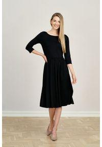 Marie Zélie - Sukienka Emelina czarna mikromodal rękaw 3/4. Kolor: czarny. Materiał: wiskoza, dzianina, elastan, włókno, skóra, guma. Styl: klasyczny. Długość: midi