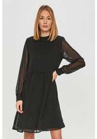 Czarna sukienka Vila ze stójką, z długim rękawem