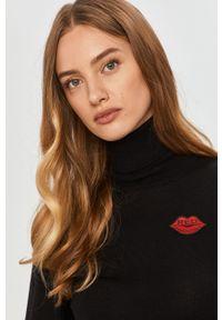 Czarny sweter Red Valentino z golfem, długi, klasyczny, z długim rękawem