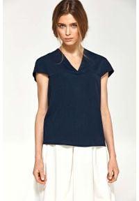 Nife - Granatowa Bluzka z Dekoltem V z Mini Rękawkiem. Kolor: niebieski. Materiał: lycra, poliester. Długość rękawa: krótki rękaw