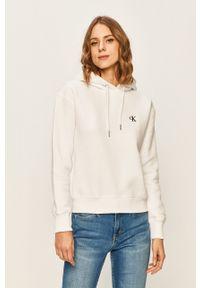 Calvin Klein Jeans - Bluza. Kolor: biały. Materiał: dzianina. Wzór: gładki