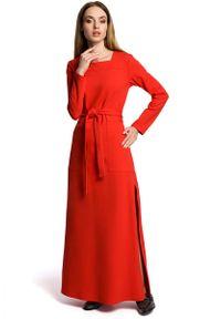 Czerwona sukienka dzianinowa MOE maxi