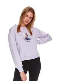 TOP SECRET - Nierozpinana bluza z aniołkiem. Kolor: fioletowy. Materiał: bawełna. Długość rękawa: długi rękaw. Długość: długie. Wzór: nadruk. Sezon: zima