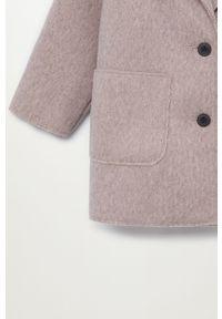 Różowy płaszcz Mango Kids klasyczny, bez kaptura, na co dzień