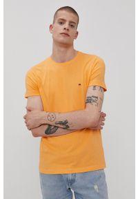 TOMMY HILFIGER - Tommy Hilfiger - T-shirt. Okazja: na co dzień. Kolor: pomarańczowy. Materiał: bawełna, dzianina. Wzór: gładki. Styl: casual