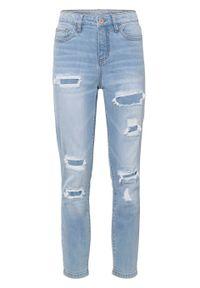 """Dżinsy 7/8 Super Skinny """"destroyed"""", z bawełny organicznej bonprix lodowy niebieski denim. Kolor: niebieski. Długość: krótkie. Styl: elegancki"""