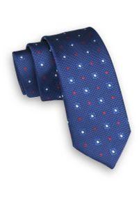 Niebieski krawat Angelo di Monti w geometryczne wzory, wizytowy