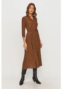 Pinko - Sukienka. Kolor: brązowy. Materiał: tkanina. Typ sukienki: rozkloszowane