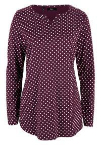 Fioletowa bluzka bonprix długa, z długim rękawem, w kropki
