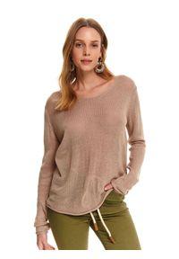 Beżowy sweter TOP SECRET długi, w kolorowe wzory, na wiosnę, na co dzień