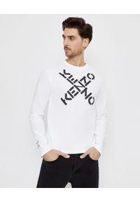 Kenzo - KENZO - Biała koszulka z długim rękawem Sport. Kolor: biały. Materiał: bawełna. Długość rękawa: długi rękaw. Długość: długie. Wzór: aplikacja. Styl: sportowy