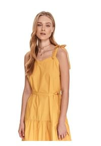 Żółta sukienka TOP SECRET midi, na ramiączkach, koszulowa