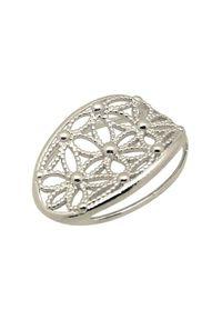 Polcarat Design - Srebrny rodowany wisiorek W 1890. Materiał: srebrne. Kolor: srebrny. Wzór: aplikacja, kwiaty