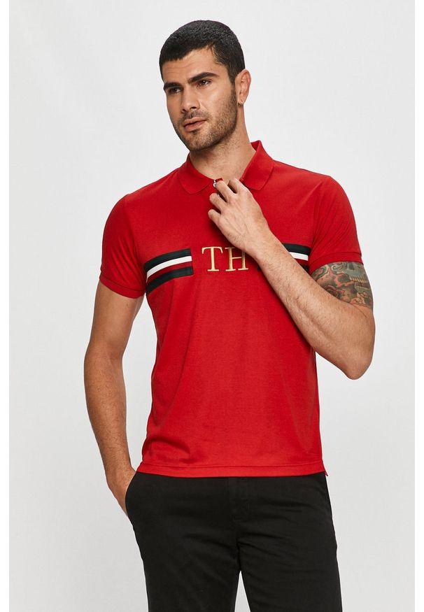 Czerwona koszulka polo TOMMY HILFIGER z aplikacjami, polo, krótka