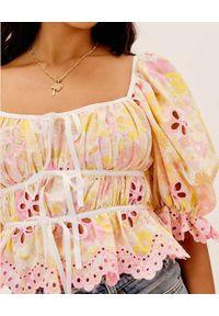 For Love & Lemons - FOR LOVE & LEMONS - Gorsetowa bluzka Claire. Typ kołnierza: dekolt gorset. Kolor: różowy, fioletowy, wielokolorowy. Materiał: bawełna. Wzór: kwiaty, nadruk, aplikacja
