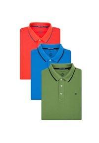 Lancerto - Zestaw 3 Koszulek Polo Dominic. Typ kołnierza: polo. Materiał: materiał, bawełna, włókno. Długość rękawa: krótki rękaw. Wzór: ze splotem. Styl: klasyczny