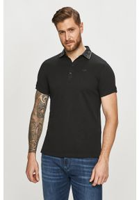 Czarna koszulka polo Diesel gładkie, casualowa, polo, na co dzień