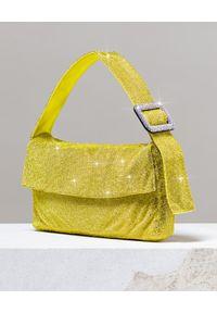 BENEDETTA BRUZZICHES - Żółta torebka na ramię La Monique Lemonade Large. Kolor: żółty. Wzór: aplikacja. Rodzaj torebki: na ramię