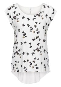 Shirt bonprix w motyle. Kolor: biały. Wzór: nadruk