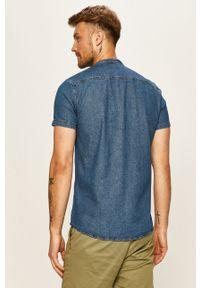 Niebieska koszula Tom Tailor Denim krótka, na co dzień, casualowa, ze stójką