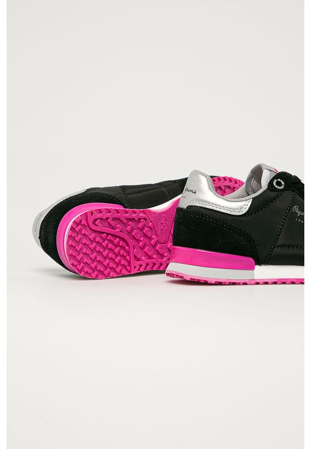 Czarne buty sportowe Pepe Jeans z cholewką, na sznurówki