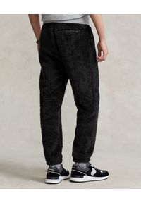 Ralph Lauren - RALPH LAUREN - Czarne spodnie z pluszu. Kolor: czarny. Wzór: haft