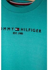 Turkusowa bluza TOMMY HILFIGER casualowa, z okrągłym kołnierzem, z aplikacjami, na co dzień