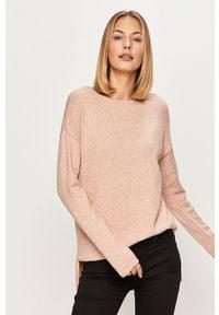 Różowy sweter Vila długi, z długim rękawem