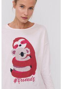 United Colors of Benetton - Longsleeve piżamowy. Kolor: różowy. Materiał: bawełna. Długość: długie. Wzór: nadruk