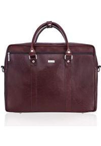 Torba Solier Skórzana torba na ramię laptopa Solier MARCEL Brąz. Kolor: brązowy. Materiał: skóra