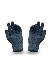 Rękawiczki męskie PaMaMi - Granatowa mulina. Kolor: niebieski. Materiał: akryl. Sezon: zima