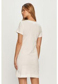 Biała sukienka Love Moschino prosta, na co dzień, z nadrukiem