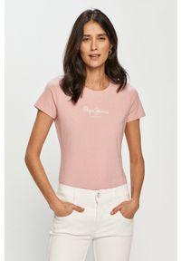 Różowa bluzka Pepe Jeans gładkie, na co dzień, casualowa