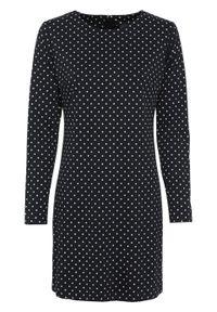 Czarna sukienka bonprix w kropki, z długim rękawem