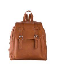 Plecak bonprix koniakowy. Kolor: brązowy. Wzór: paski. Rodzaj torebki: na ramię