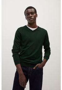 Zielony sweter Mango Man długi, na co dzień, z długim rękawem, casualowy
