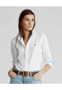 Ralph Lauren - RALPH LAUREN - Koszula Oxford. Typ kołnierza: polo. Kolor: biały. Materiał: bawełna, materiał. Długość rękawa: długi rękaw. Długość: długie. Wzór: haft, aplikacja, kolorowy. Styl: klasyczny