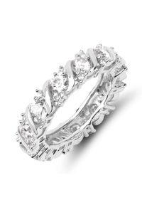 Braccatta - CLER Srebrny pierścionek obrączka cyrkonie. Materiał: srebrne. Kolor: srebrny. Kamień szlachetny: cyrkonia