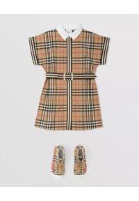 BURBERRY CHILDREN - Bawełniana sukienka w kratę 3-10 lat. Kolor: beżowy. Materiał: bawełna. Sezon: lato