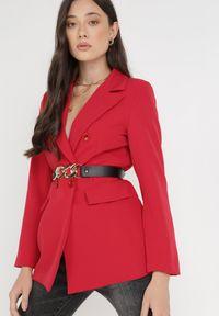 Born2be - Czerwona Marynarka Ianthathe. Kolor: czerwony. Materiał: jeans, materiał #4