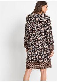 Sukienka z nadrukiem, długi rękaw bonprix czarno-brązowo-niebieski z nadrukiem. Kolor: czarny. Materiał: tkanina. Długość rękawa: długi rękaw. Wzór: nadruk. Styl: boho #3