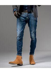 GUNS & TUXEDOS - Niebieskie spodnie jeansowe Marou. Kolor: niebieski. Wzór: aplikacja. Styl: elegancki