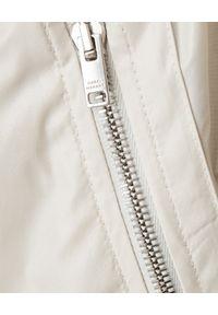 ISABEL MARANT - Beżowy płaszcz ze ściągaczem. Kolor: beżowy. Materiał: len, materiał. Długość rękawa: długi rękaw. Długość: długie. Sezon: wiosna