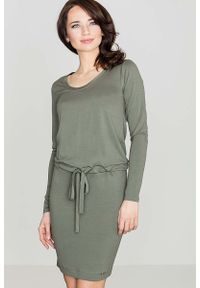 Katrus - Zielona Wygodna Sukienka Midi z Troczkami w Talii. Kolor: zielony. Materiał: wiskoza, elastan. Długość: midi
